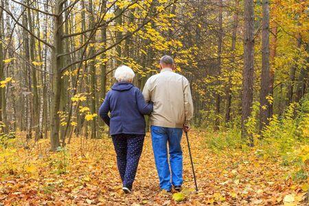 Happy senior couple in an autumn park