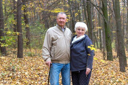 Happy elderly couple walking in an autumn park