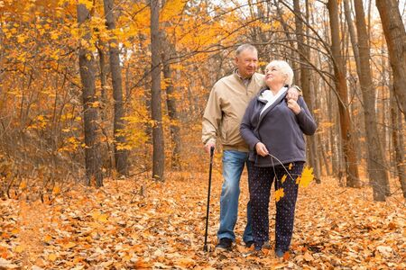 Happy elderly couple walking in an autumn park Archivio Fotografico