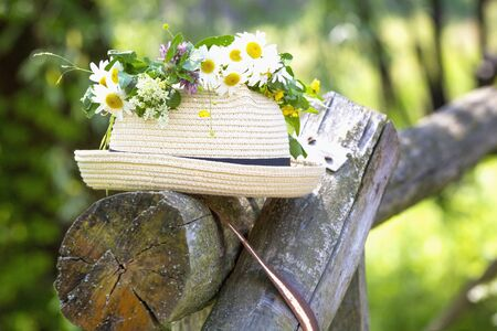 Summer background with straw hat and camomile flowers