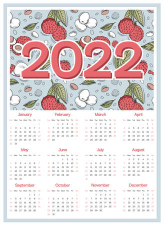 Lychee calendar 2022 week starts on Sunday, red berries with green leaves on blue background for wall poster, card, agenda, print. Vector illustration