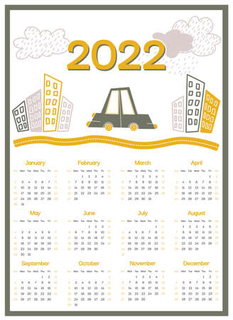 Calendar 2022 week starts on Sunday, green auto on the yellow road in the city on white background for wall poster, card, agenda, print. Vector illustration Ilustración de vector
