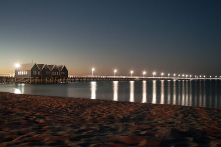 busselton: A long jetty with light posts at twilight