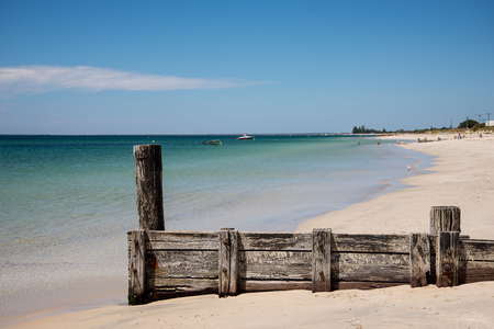 busselton: Scenic old jetty remains on Busselton Beach at Geographe Bay
