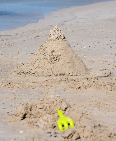 busselton: Creative Sand Castle on white sand beach in Busselton Stock Photo
