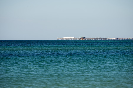 busselton: Busselton Jetty remote view from West Busselton Stock Photo