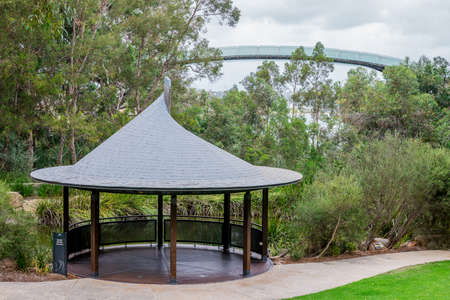karri: Pavilion near a pond and an observation walking bridge in Kings Park and Botanical Gardens in Perth Western Australia Stock Photo