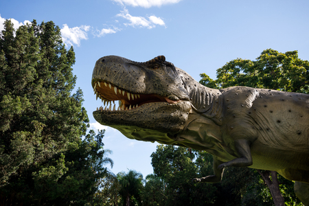 zoo as: Tyrannosaurus Rex roaring in Perth Zoo as part of Zoorassic exhibition
