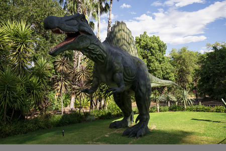 zoo as: Roaring Spinosaurus display model in Perth Zoo as part of Zoorassic exhibition