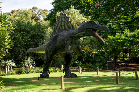 zoo as: Standing Spinosaurus display model in Perth Zoo as part of Zoorassic exhibition Editorial