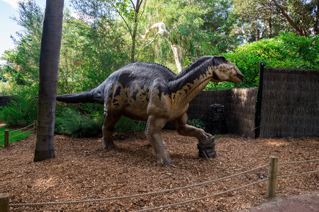 triassic: Standing Edmontosaurus display model in Perth Zoo as part of Zoorassic exhibition