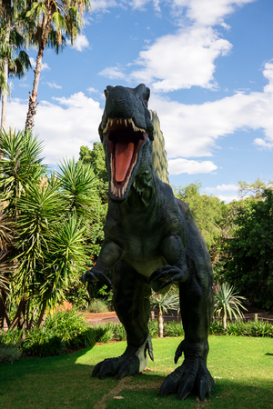 zoo as: Roaring front standing Spinosaurus display model in Perth Zoo as part of Zoorassic exhibition Editorial
