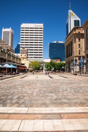 perth: A view of Forrest Place Square in Perth City, Western Australia Editorial