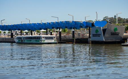 Transperth public ferry at Elizabeth Quay Jetty in Perth City, Western Australia