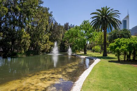 Fountains in Government House gardens near Perth CBD, Western Australia Stock Photo