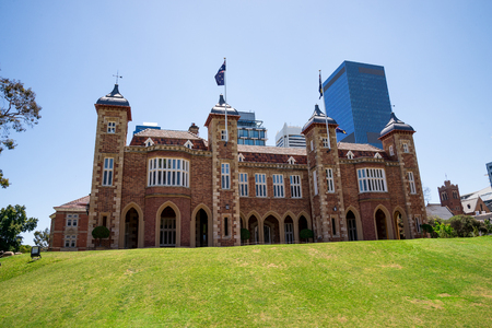 A view of Government House with Perth City Central Business district buildings on background, Western Australia
