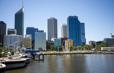 perth: Perth City view from Elizabeth Quay Bridge with The Spanda sculpture in waterfront, Western Australia