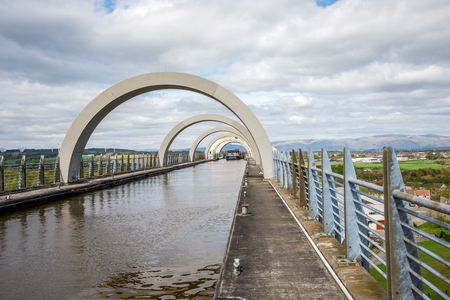 A ferry boat approching canal after has been lifted in Falkirk Wheel, Scotland