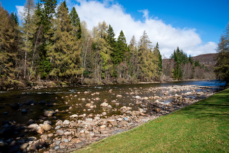 A view of Dee river in Balmoral Castle estate, Aberdeenshire,  Scotland