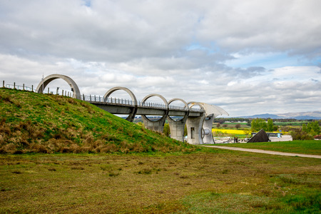 Falkirk Wheel aqueduct view in central Scotland