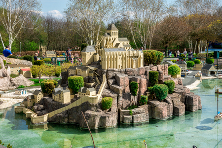 Scenic house on top of a rocky hill in Legoland Windsor miniland Editorial