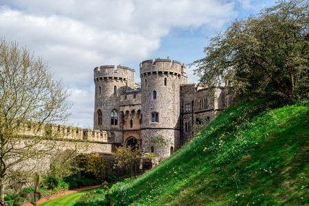 Entrance gate between two towers to inner yard of Windsor Castle, England