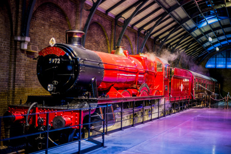 Hogwarts Express at platform 9 34 in Warner Brothers Harry Potter Studio Tour, London Editorial