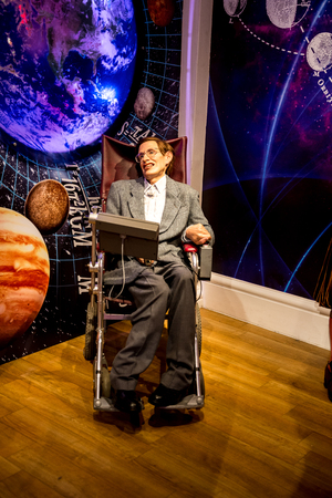 Stephen Hawking wax figure in Madame Tussaud museum in London, Great Britain