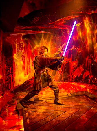 A wax statue of Anakin Skywalker from Star Wars Episode VI in Madame Tussaud museum in London, England