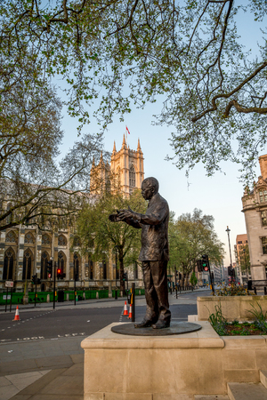 Statue of Nelson Mandela in Parliament Square Garden in Westminster, Central London