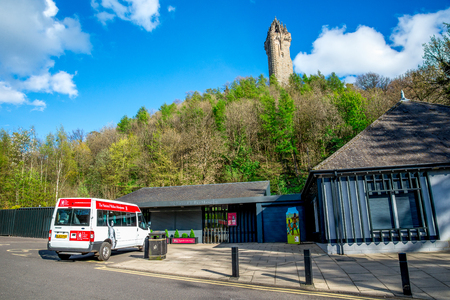 craig: A view of the National Wallace Monument from the visitor centre near Stirling, Scotland