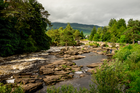 Running falls of Dochart in a small town of Killin in central Scotland