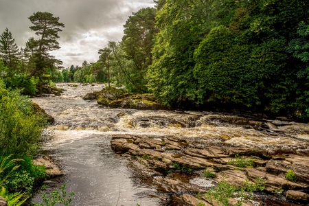 Falls of river Dochart in Loch Lommond and The Trossachs National Park, central Scotland