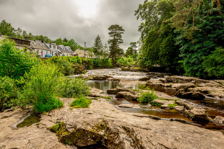 Falls of river Dochart in Loch Lommond and The Trossachs National Park at town of Killin, central Scotland Stock Photo