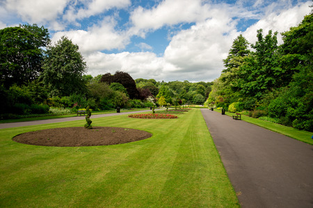 river banks: Central alley with flower beds in Seaton Park, Aberdeen, Scotland Stock Photo