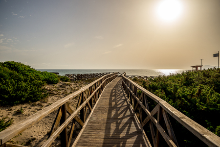 A boardwalk to Playa de Muro beach in Can Picafort, Alcudia bay, Majorca