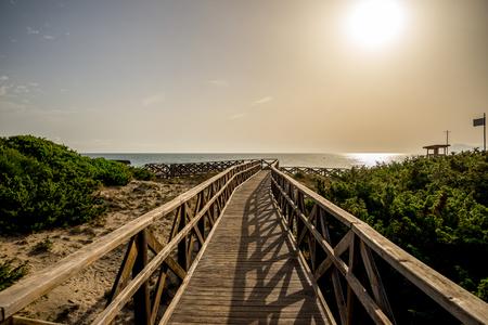 Can Picafort, Alcudia bay, Majorca의 Playa de Muro 해변 산책로 스톡 콘텐츠