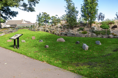 Information stand and samples of various granite from local Scottish quarries presented in Duthie park, Aberdeen, Scotland Stock Photo