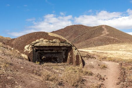 Remains of the watch defense bunker from the Second World War on a hiking track to Red Mount Roja, Tenerife, Spain