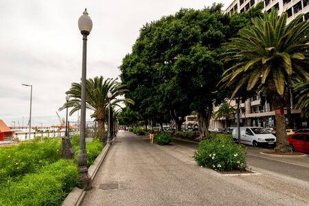 Scenic pedestrian walkpath along port terminals in Santa Cruz de Tenerife, Canary Islands, Spain