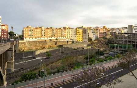 A view from the bridge across Barranco de Santos with dividing the city center of Santa Cruz de Tenerife, Canary Islands, Spain