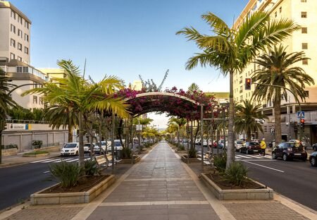 Pedestrian footpath leading to the coast in the middle of Avenue Tres de Mayo at Santa Cruz de Tenerife, Canary Islands, Spain