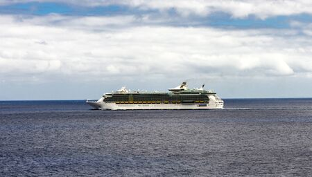 A cruiseship sailing between Tenerife and Gran Canaria islands in Atlantic ocean, Spain