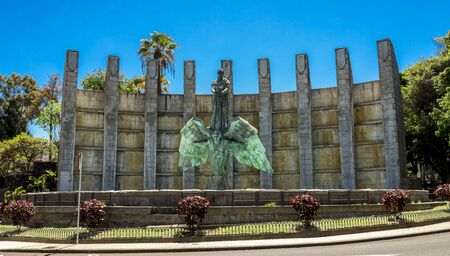 The Victory Monument in commemoration of General Franco with his sculpture standing on a back of the flying archangel at Santa Cruz de Tenerife, Canary Islands, Spain