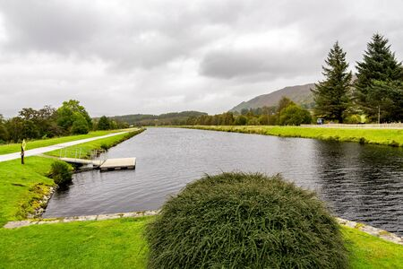 A view to the Caledonian Canal from the Aberchalder swing bridge in Scottish Highlands