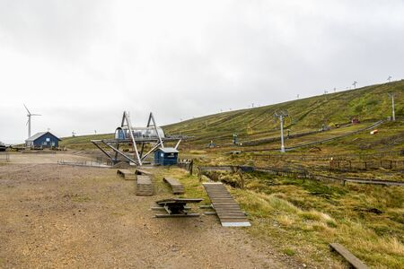 A view of Lechi ski centre lift and slopes in October before the season starts, Cairngorms National Park, Scotland