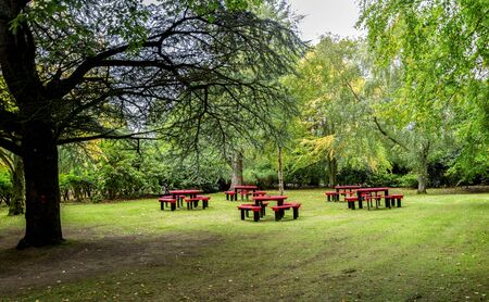 small meadow with red tables and benches for family picnics in Hazlehead park, Aberdeen, Scotland