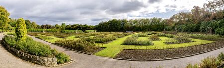 A scenic panorama of a renovated Queen Mother Rose Garden in Hazlehead park, Aberdeen, Scotland