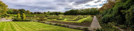 panoramic view of a renovated Queen Mother Rose Garden in Hazlehead park, Aberdeen, Scotland