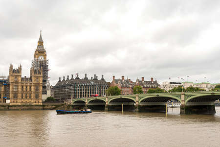 River Thames view at Westminster bridge and Big Ben in autumn day, London, England